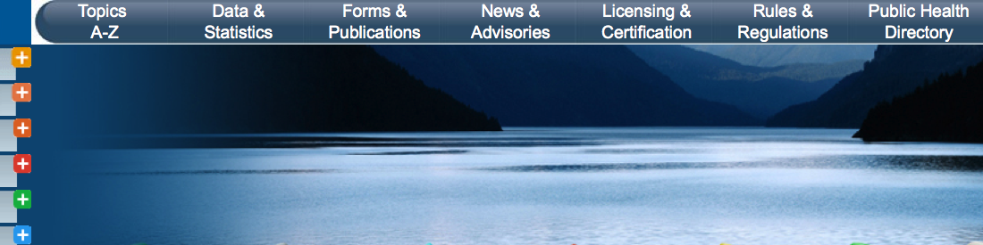 image of the State of Oregon public health division website - with a picture of a kayak in still waters