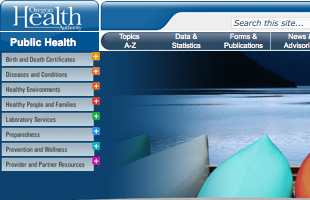 Image of the State of Oregon Public Health Website